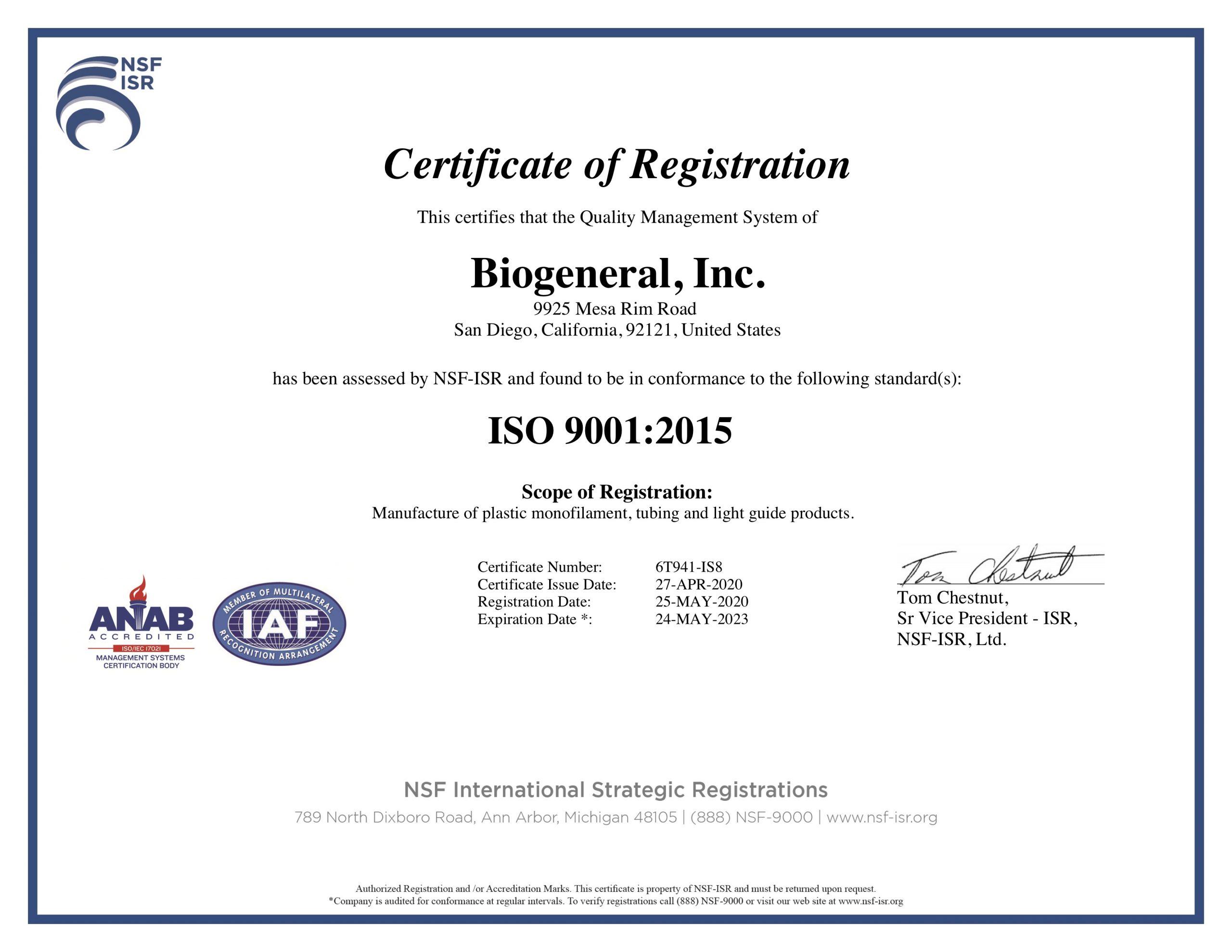 Biogeneral, Inc. ISO 9001:2015 Certificate